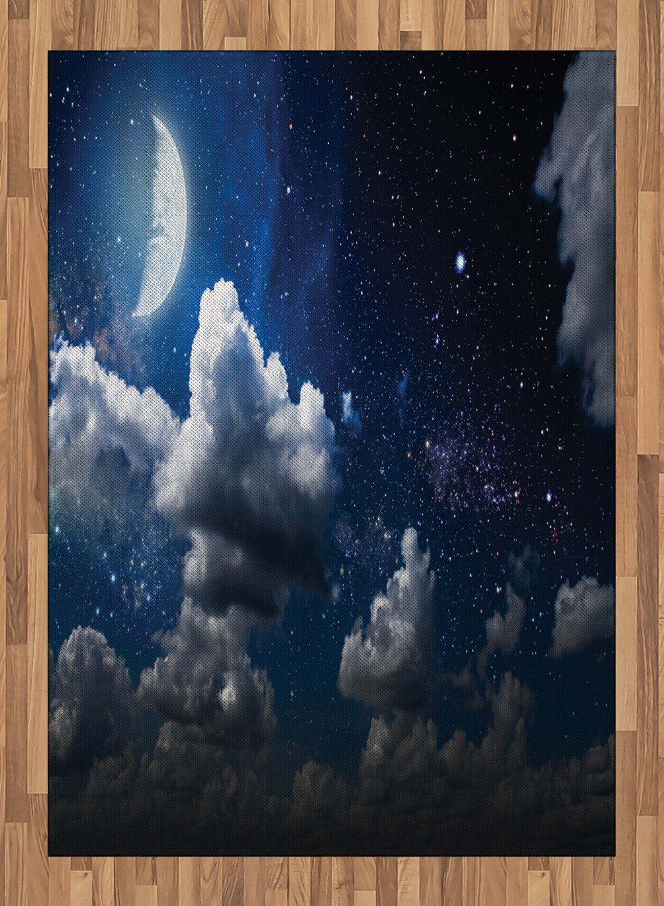 Clouds Area Rug by Ambesonne, Celestial Solar Night Scene Stars Moon and Clouds Heaven Place in Cosmos Theme, Flat Woven Accent Rug for Living Room Bedroom Dining Room, 5.2 x 7.5 FT, Dark Blue White