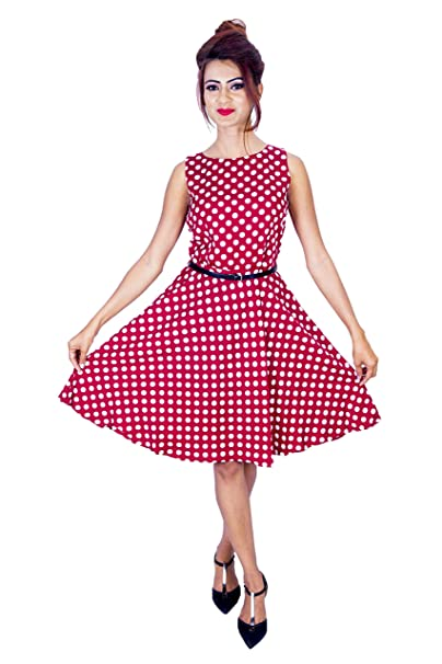 bea100f4106ae Designer Short Western one-Piece Sleeveless Dress with Polka dots for Women  and Girls Red