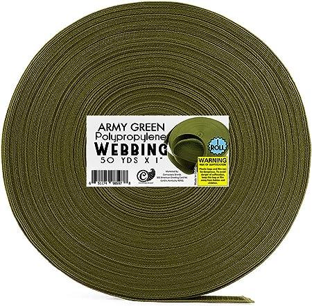 50mm wide FOREST GREEN PINK OLIVE RED 50 Metre Roll Polypropylene Webbing