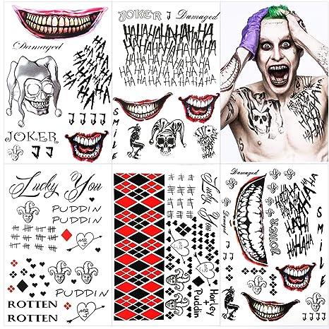 5 Large Sheets Joker Tattoos, the Joker Temporary Tattoos