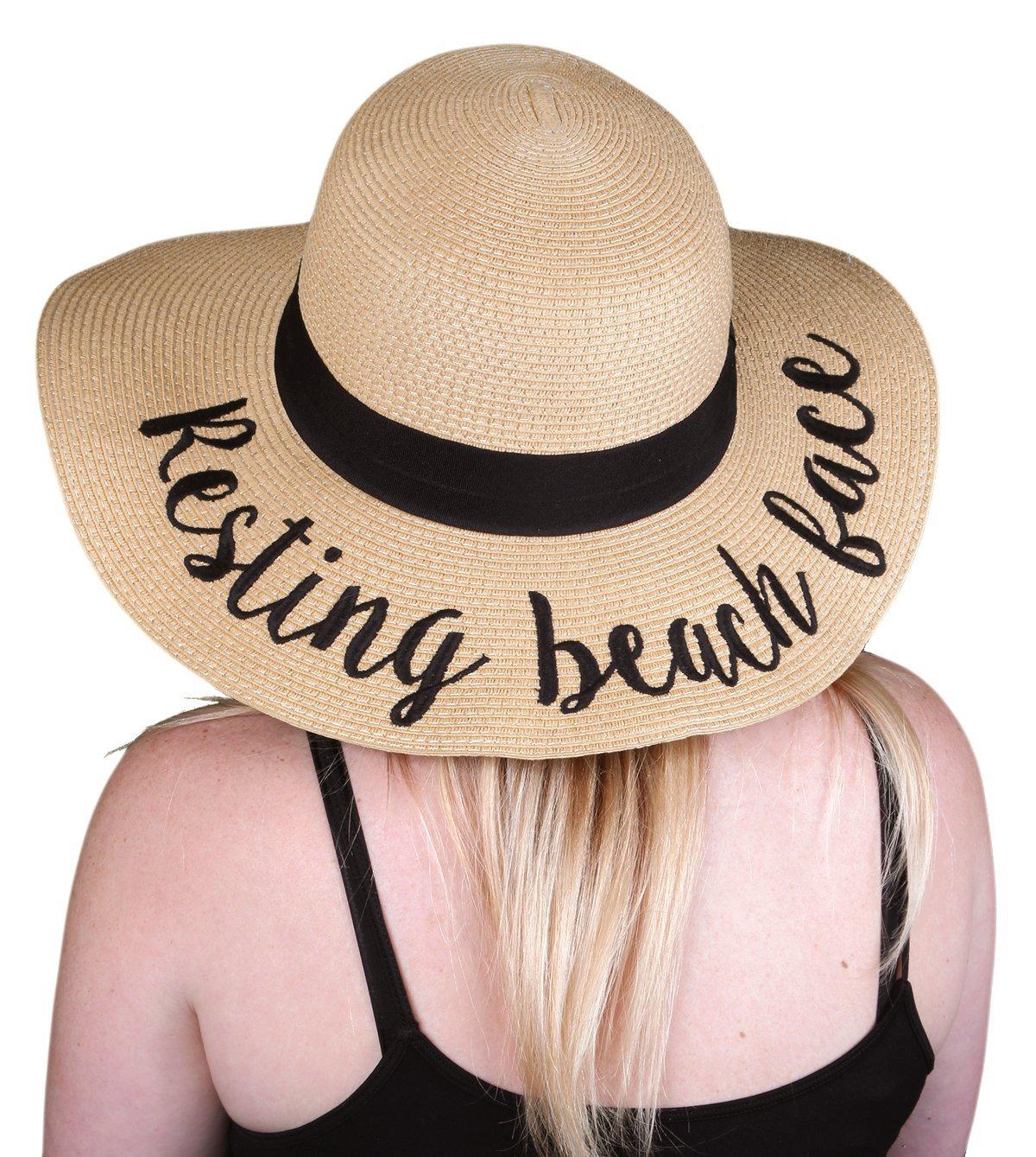Funky Junque 's Women 's太字筆記体刺繍調節可能なビーチフロッピー太陽帽子 B06XXL7181 Resting Beach Face Resting Beach Face