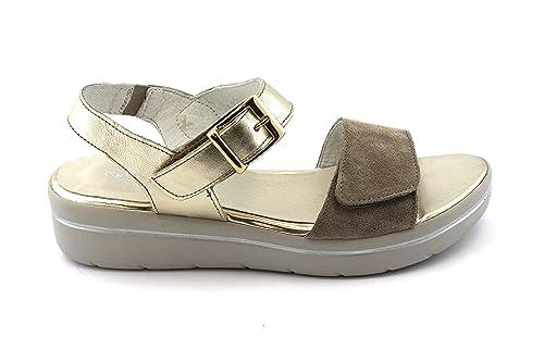 GRUNLAND LIFE SA1753 platino beige sandali donna zeppa pelle cinturino strappo