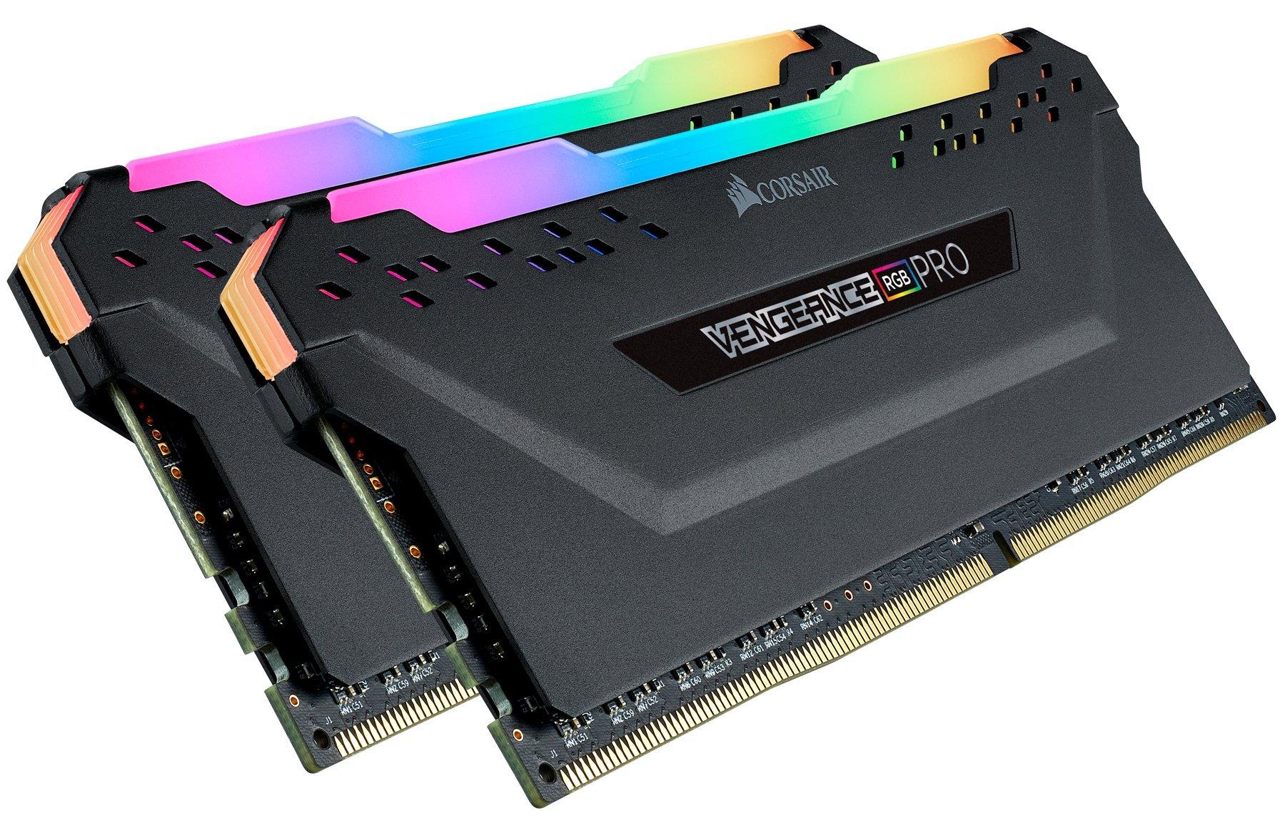Corsair Vengeance RGB Pro 16GB (2x8GB) DDR4 3600 (PC4-28800) C18 AMD Optimized Memory - Black by Corsair