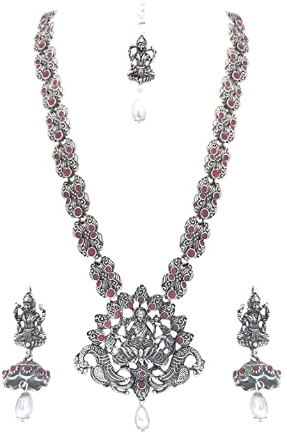 Costume Jewellery Indian Women Silver Oxidized Peacock Necklace Set Fashion Jewelry Wedding Gift Jewellery & Watches
