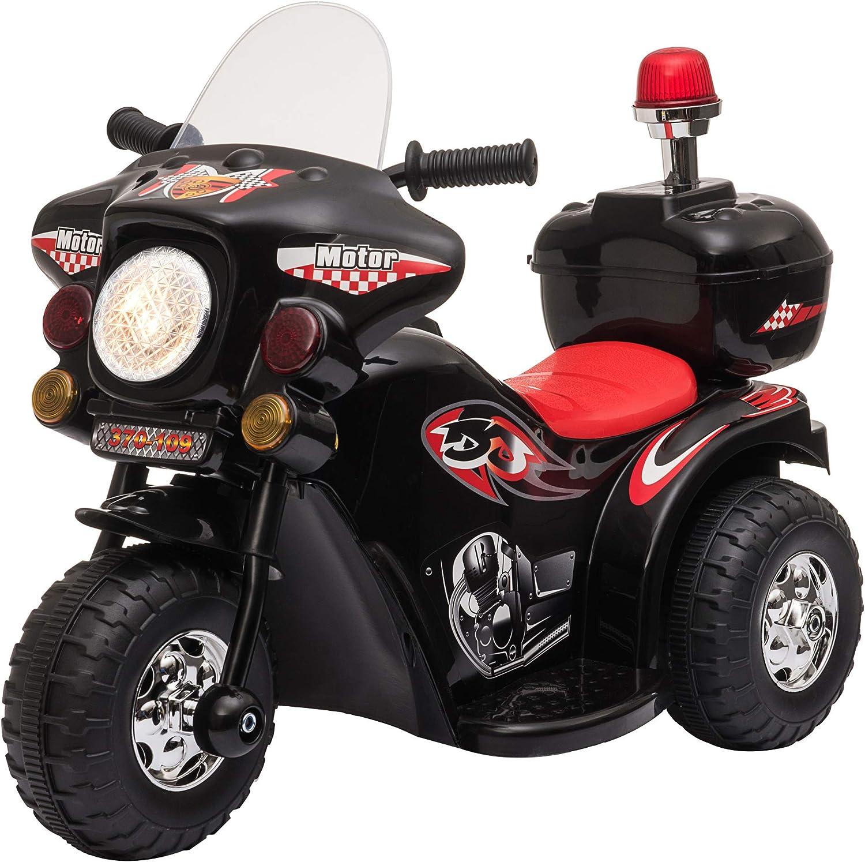 HOMCOM Moto Eléctrica para Niños de +18 Meses Diseño Moto Eléctrica Infantil con 3 Ruedas y Batería 6V Funciones de Música Bocina Faros Maletero 80x35x52 cm Negro
