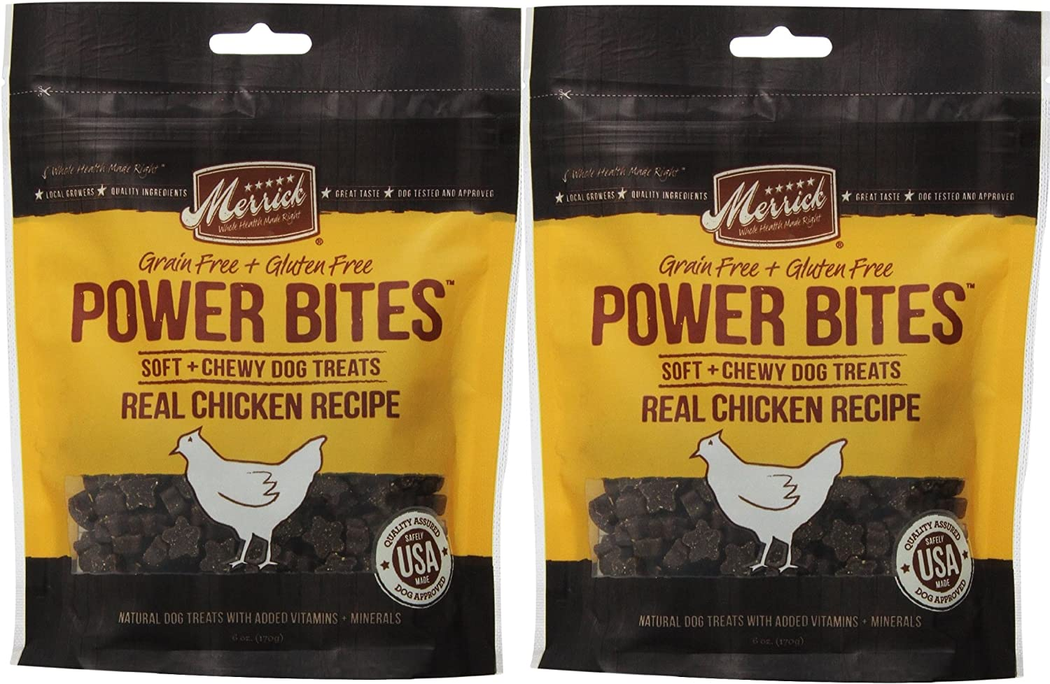 MERRICK Chicken Power Bites Made in USA 2 Pack 12 Ounces Total Dog Treats Training