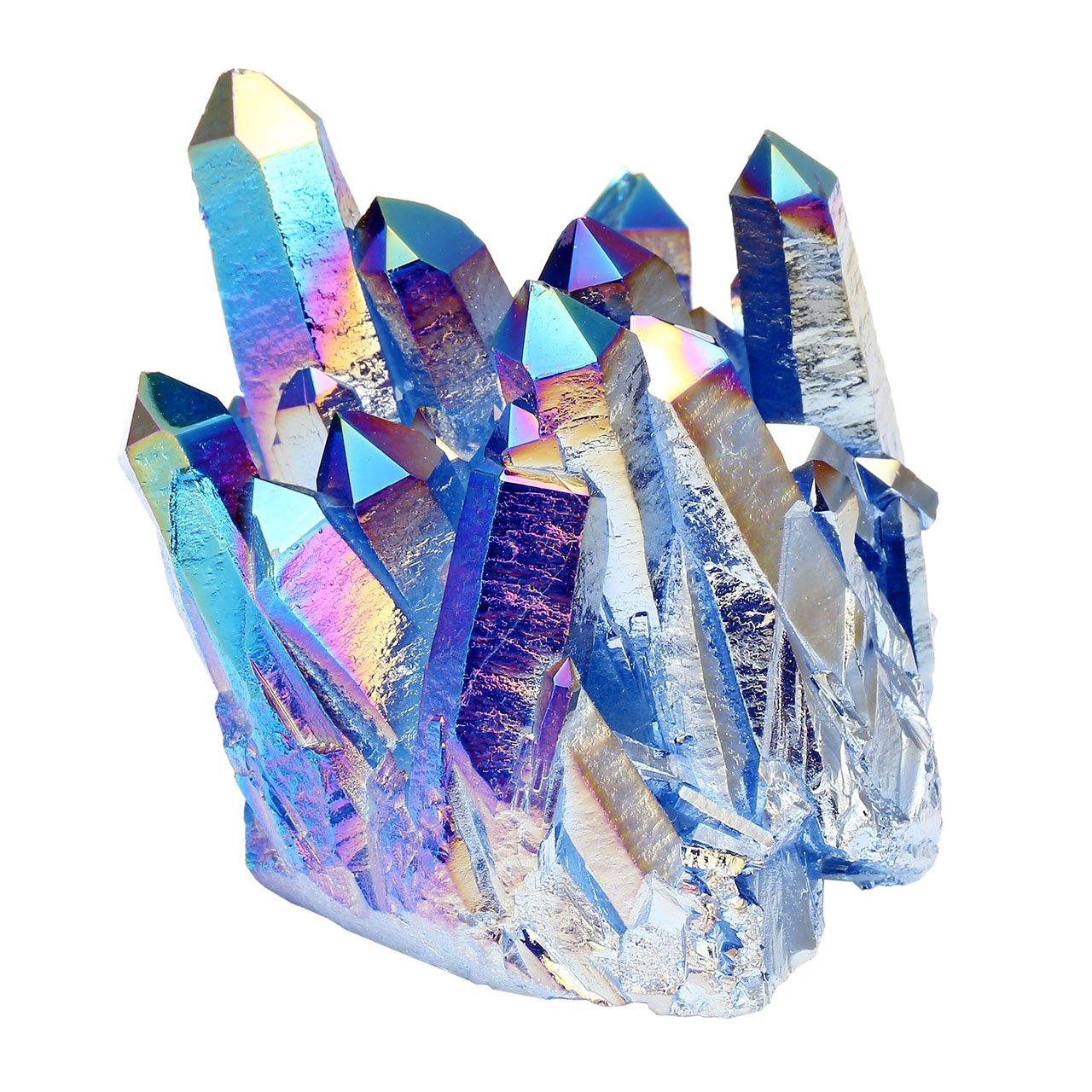 Jovivi Pierre d'Energie Precieuse Irrégulière Quartz Cluster Cristal Geode Druse Specimen Maison Bureau Decoration Bibelot + Coffret Cadeau AJFR74908