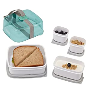 Rubbermaid Fasten + Go Sandwich Kit, Sea Foam Green, 4-Piece Set 1955736