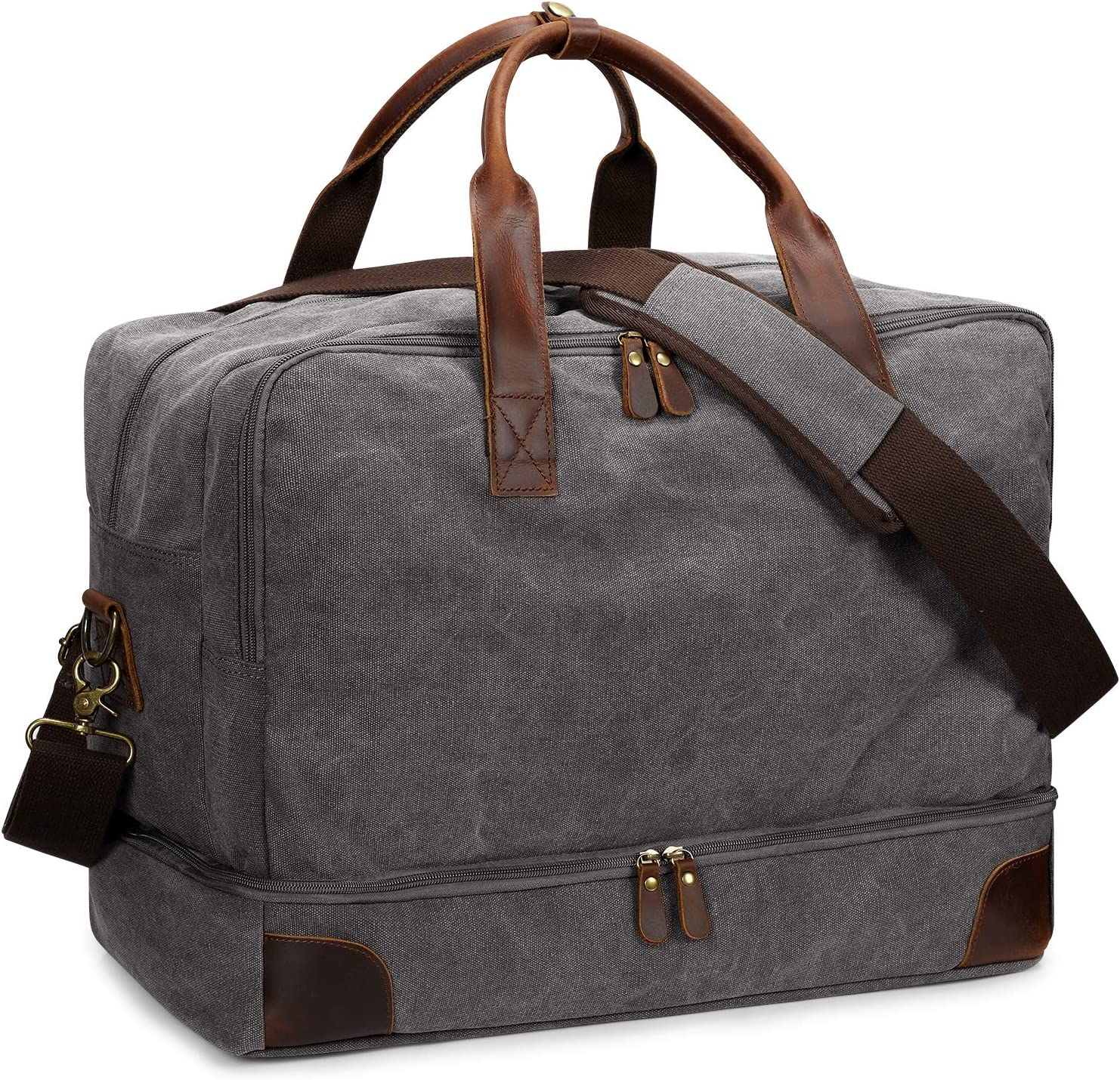 S-ZONE Mens Canvas Duffel Bag Travel Weekend Overnight Bag with Shoes Laptop Compartment 2.0 Version (Light Grey)