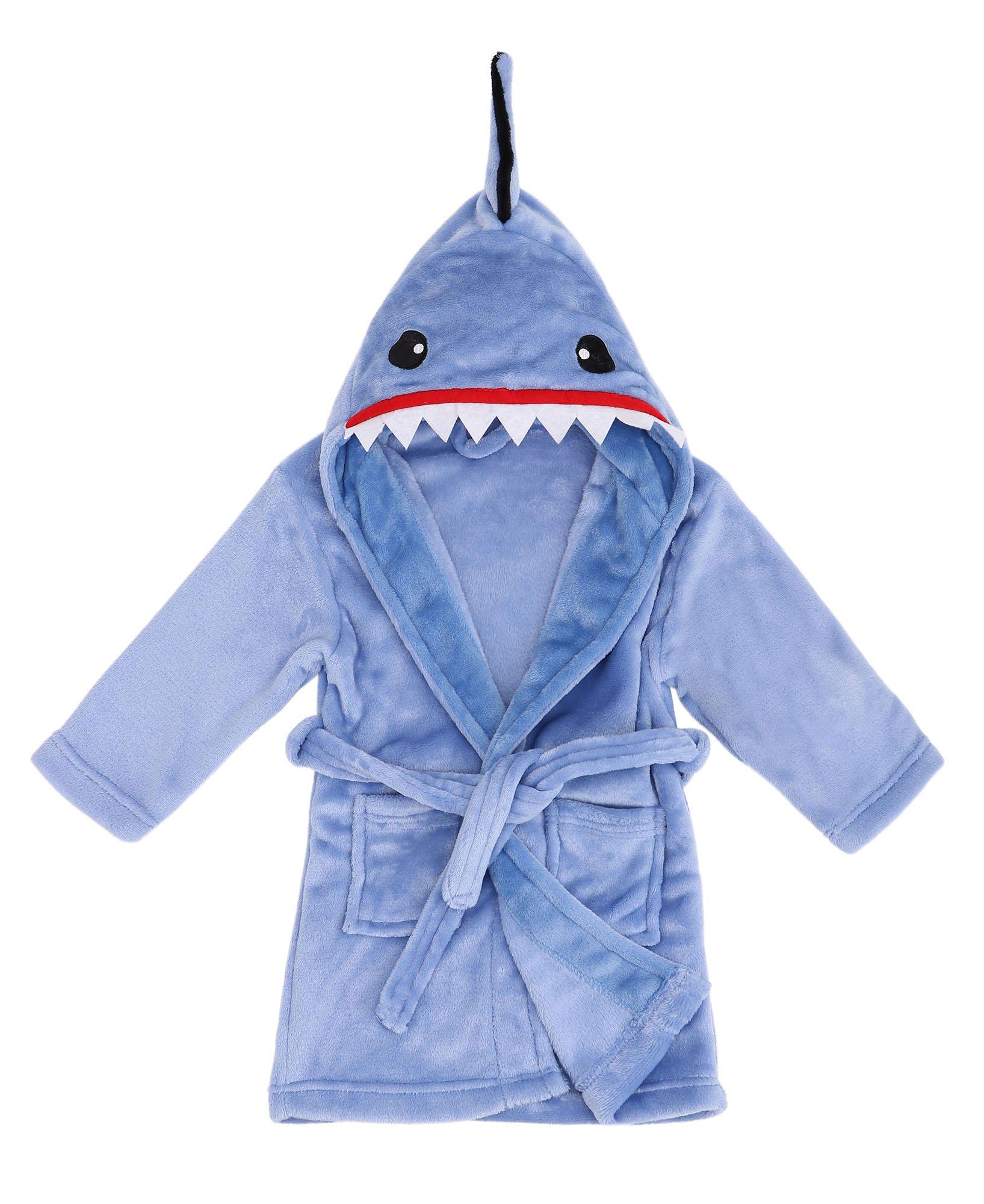Animal Robe Soft Hooded Terry Cloth Bathrobe Sleepwear,Shark Blue,L(7-10 Years)