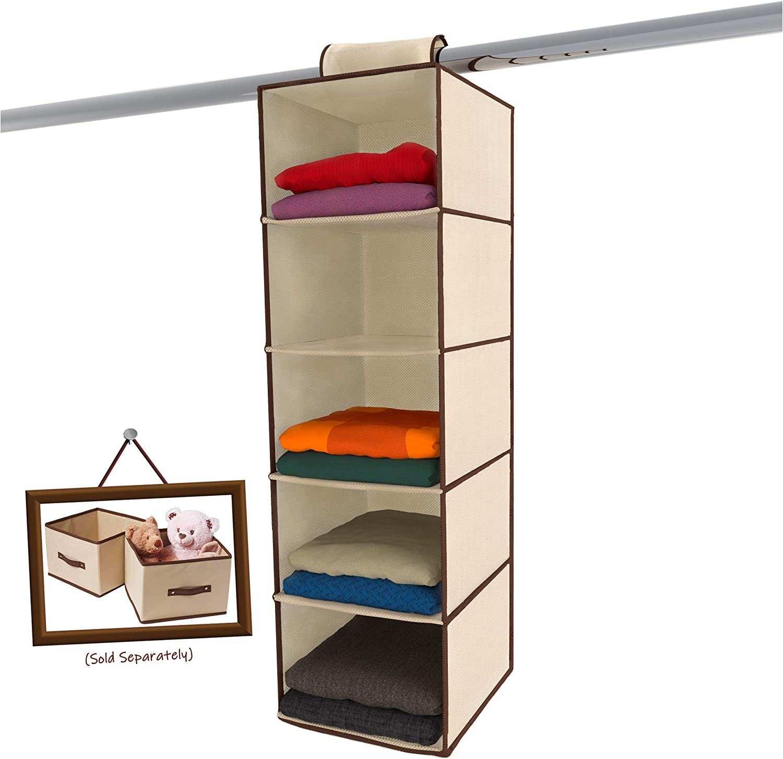 Amazon Com Ziz Home Hanging Closet Organizer 5 Shelf Beige