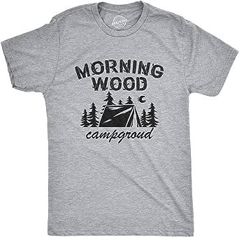 Mens Morningwood Campground Tshirt Funny Outdoor Adventure Boner Graphic Tee