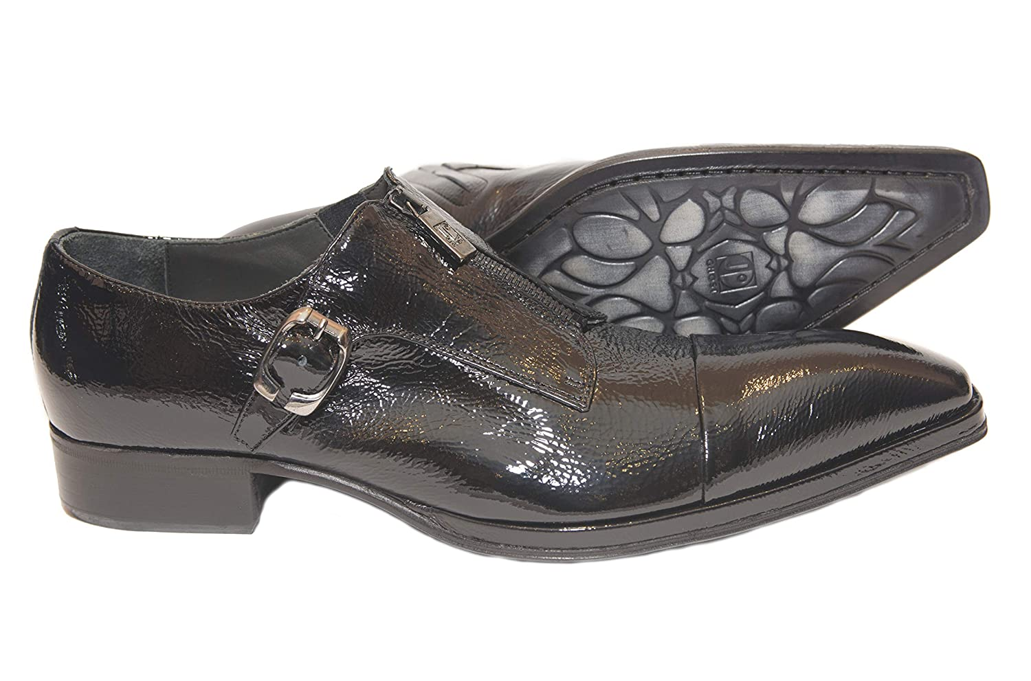 3832502a1503 Amazon.com | Jo Ghost 1316 Italian Mens Black Patent Leather Shoes ...