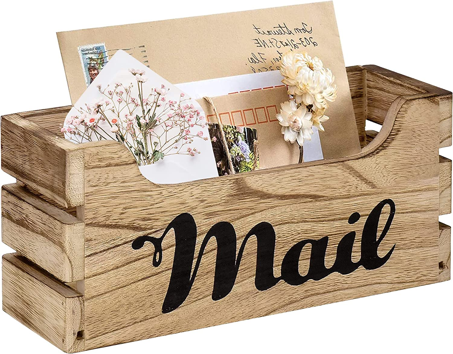 Farmhouse Decor Rustic Mail Holder Box, Rustic Wood Tabletop Mail Organizer with Hanging Hardware, Decorative Wooden Mail Holder Wall Mounted for Office, Home, Farm (Rustic Brown)