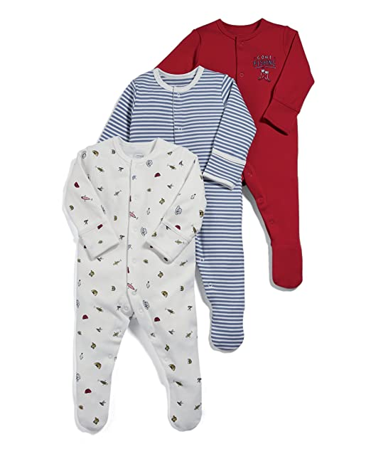 Mamas & Papas Pack of 3 Fishing Sleepsuits, Pelele para Bebés, Rojo (Red