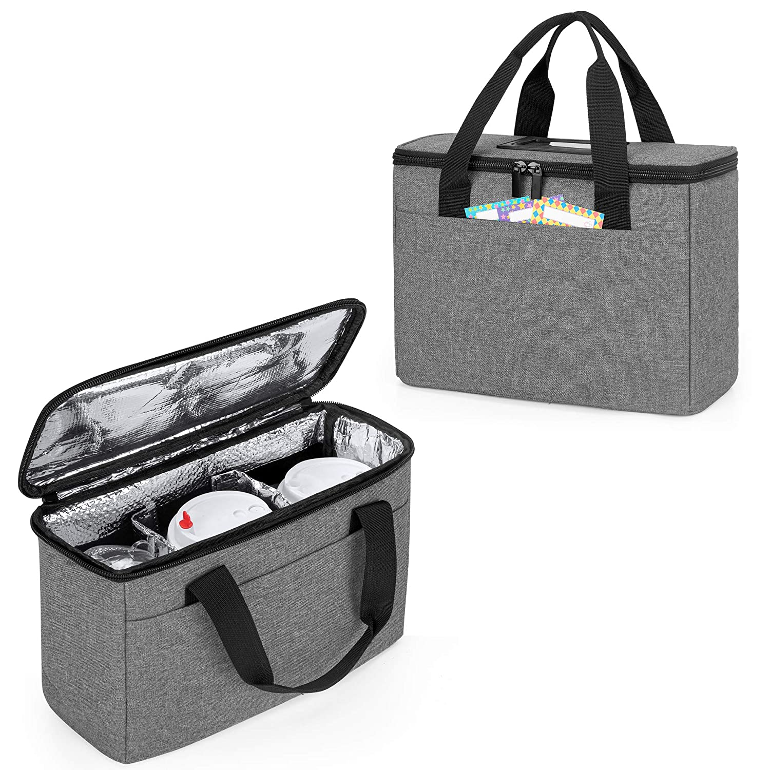 Trunab Reusable 3 Cups Drink Carrier for Delivery with Adjustable Dividers, Insulated Drink Caddy Holder Bag for Take Out, Beverages Carrier Tote with Handle for Outdoors, Grey