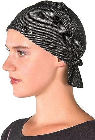 040da6dd4c10b Chemo Kaps Luna Black and Silver Women s Head Wrap