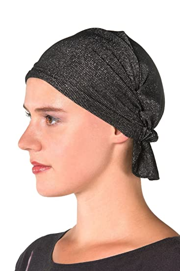844b4f137 Chemo KAPS Luna Black and Silver Women's Head Wrap, Hat, Scarf for Cancer  Patients