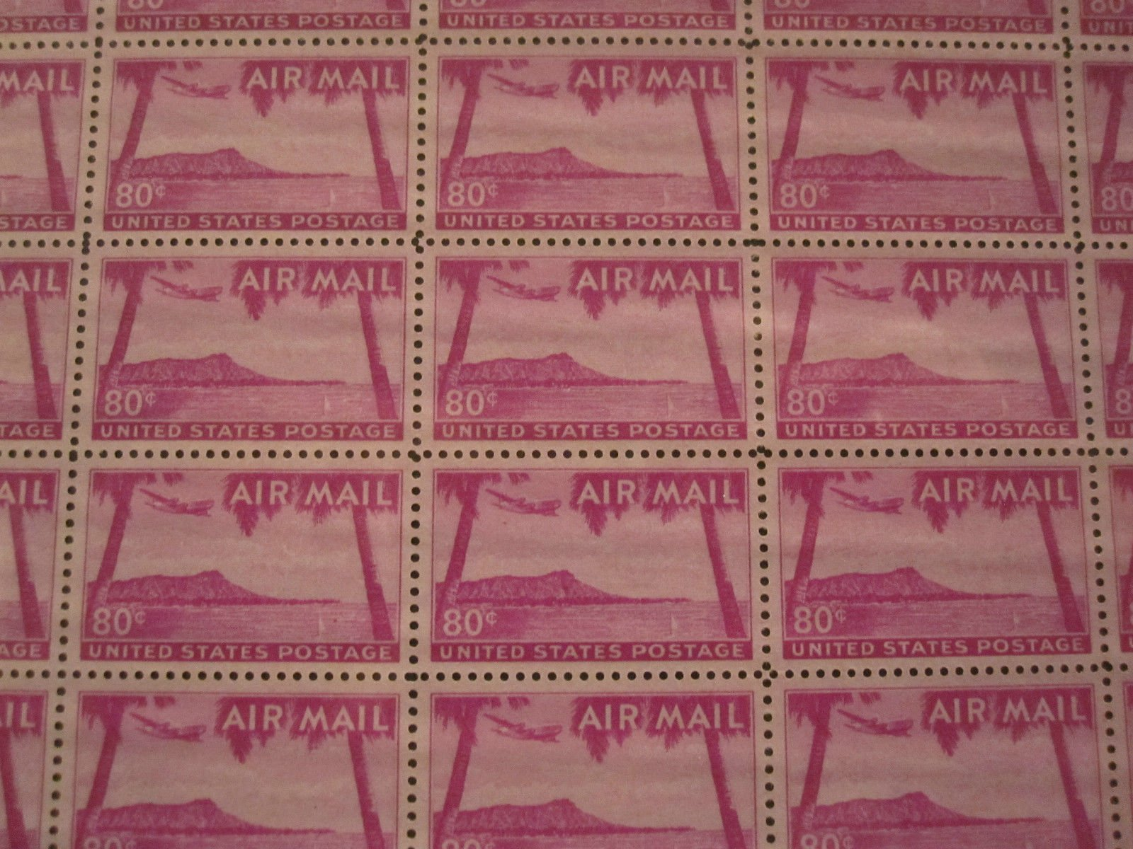 Hawaii Sheet of Fifty 80 Cent Airmail Stamps Scott C46