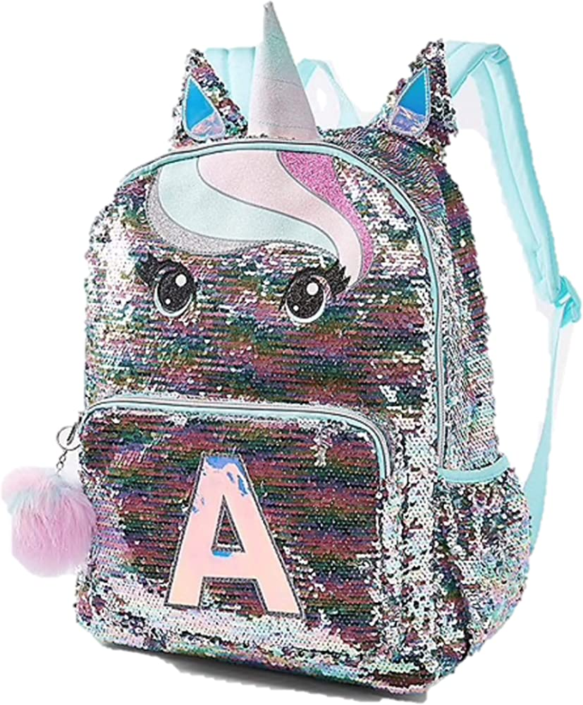 Justice Unicorn Backpack Set Pink Initial A