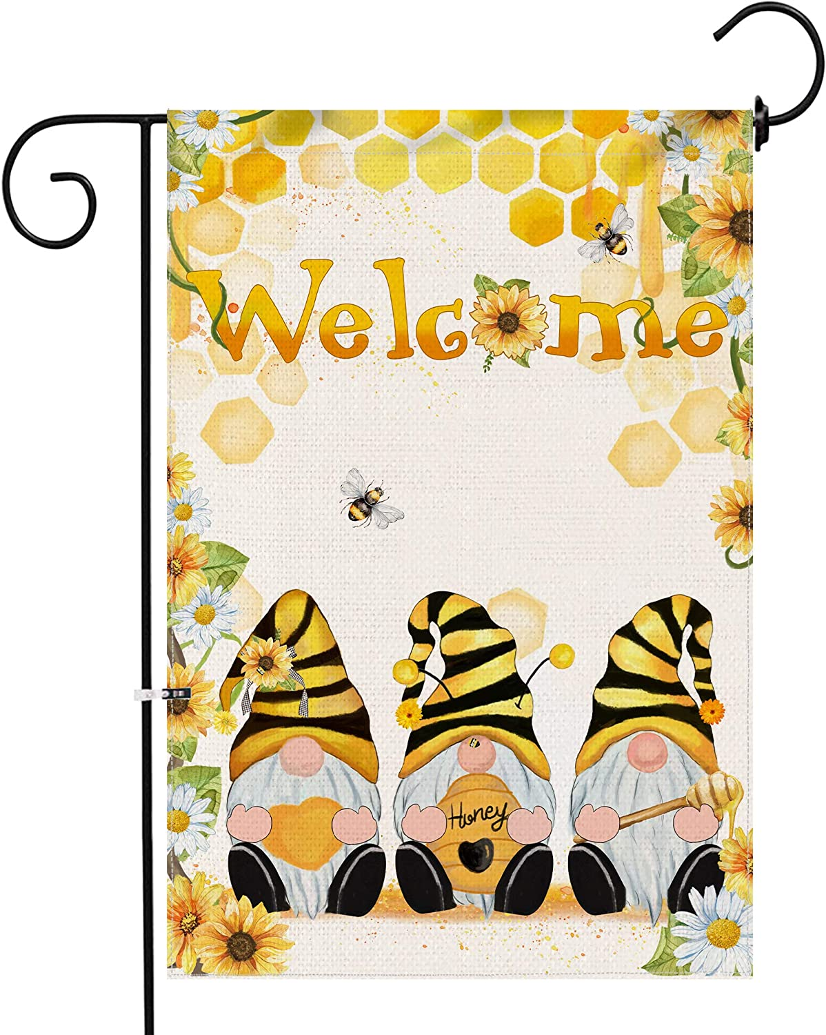 Hexagram Bee Gnomes Summer Garden Flag,Burlap Welcome Small Yard Flag 12x18 Double Sided,Spring and Summer Sunflower and Daisy Honey Outdoor Porch Lawn Decorations
