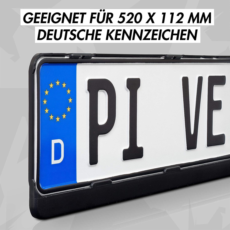 excepto Austria - Resistente a la intemperie y certificado T/ÜV para su coche Negro Juego de 2 portamatr/ículas para todos los veh/ículos europeos