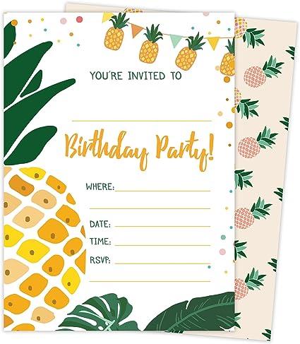 Pleasant Amazon Com Pineapple Style 3 Happy Birthday Invitations Invite Funny Birthday Cards Online Fluifree Goldxyz