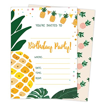 Amazon Pineapple Style 3 Happy Birthday Invitations Invite Cards 25 Count With Envelopes Seal Stickers Vinyl Boys Girls Kids Party 25ct Toys
