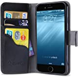Apple iPhone 6 / 6s 4.7 Zoll Lederhülle , i-Blason Dünne Leder Tasche mit Stand Halter, Kreditkarten Steckplätze / Case / Hülle / Etui (Schwarz)