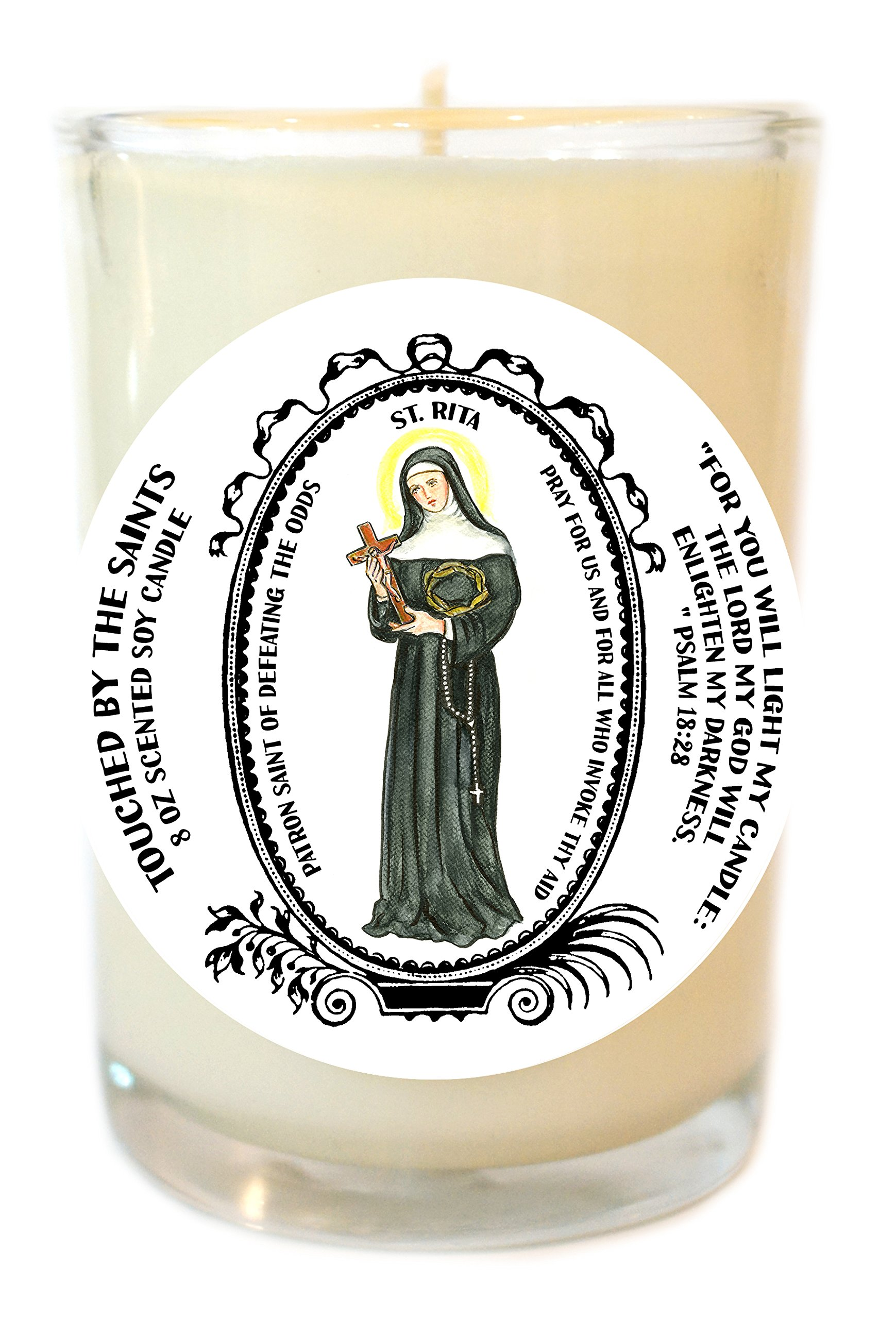 Saint Rita for Defeating the Odds 8 Oz Scented Soy Glass Prayer Candle