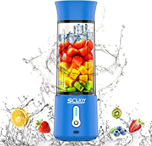 SCIJOY Portable Blender, 18Oz Personal Blender for Shakes and Smoothies, 4000mAh Type-C Rechargeable Mini Small Smoothie Blender with Six 3D Blades for Sports,Travel,Gym(Blue)