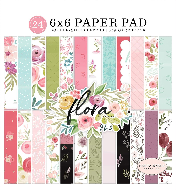 12 dise/ños//2 cada uno Carta Bella PAPEL N/º 3 6X6 talla /única 3 Flora No