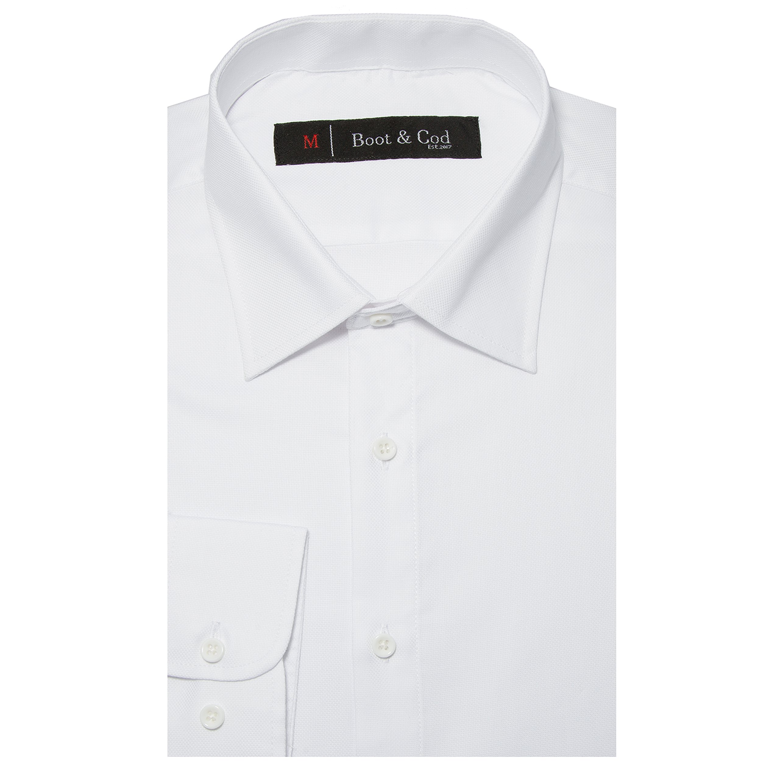 Boot & Cod Men's Classic White Fitted Long Sleeve Button Down Dress Shirt - XXL by Boot & Cod (Image #1)