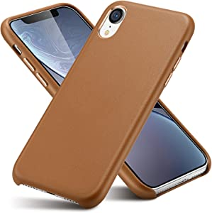iPhone X Leather Case/iPhone Xs Leather Case for Men;Shock-Absorbing and Ultra-Thin (with Microfiber Lining) Classic Metal Button Design for iPhone X (2018)/iPhone Xs (5.8 inch) (Brown)