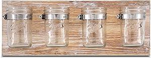 BeSuerteRustic Hanging Mason Jar Organizer for Office, Bathroom, Kitchen, and Hallway Decor Storage, Farmhouse Mason Jar Organizer, Brown