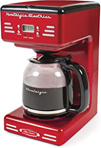 Nostalgia RCOF12RR New & Improved 12-Cup Programmable Coffee Maker with LED Display, Automatic Shut-Off & Keep Warm, Pause-And-Serve Function, Includes Reusable Filter, Retro Red