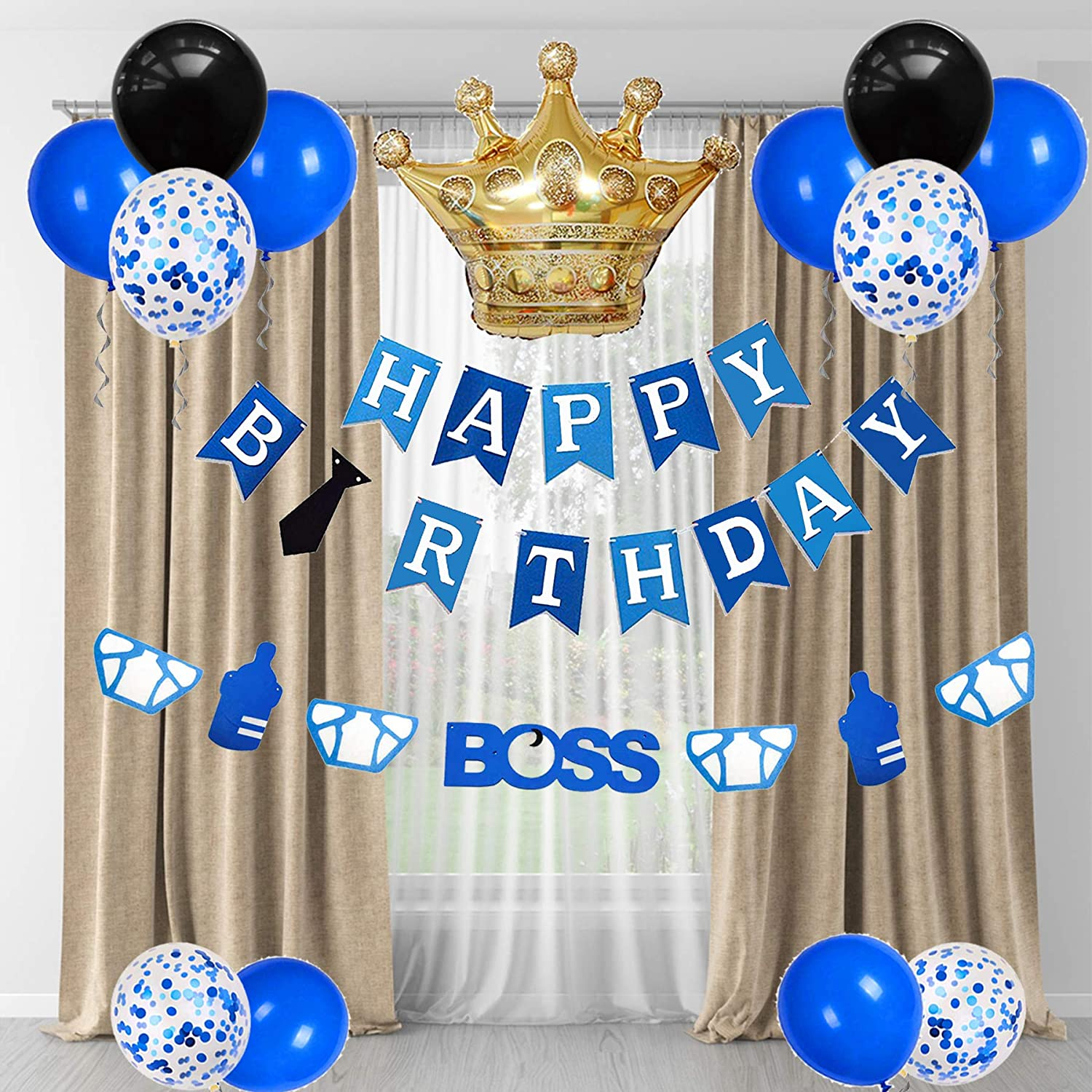 Boss Felt Garland Happy Birthday Banner Baby Boss Birthday Party Supplies Gold Crown Aluminum Foil Balloons Latex Balloons for Kids Birthday Party Decorations