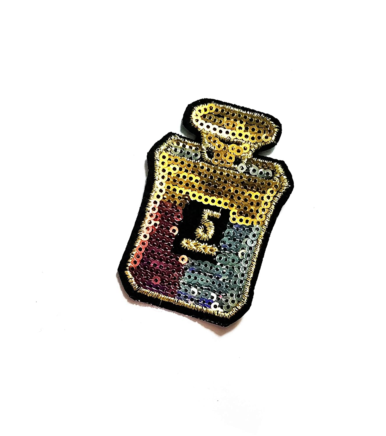 2.7'' X 2'' Gold Nail Polish Sequin Cartoon Kids Logo Jacket t-Shirt Jeans Polo Patch Iron on Embroidered Logo Sign Badge Comics Cartoon Patch by Tour les jours Shop