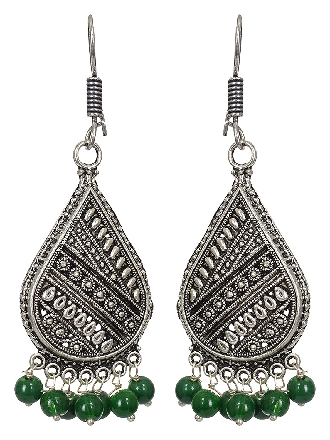 Subharpit Light Weight Green Beads Oxidized Traditional Indian Jhumka Jhumki Earring for Woman /& Girls