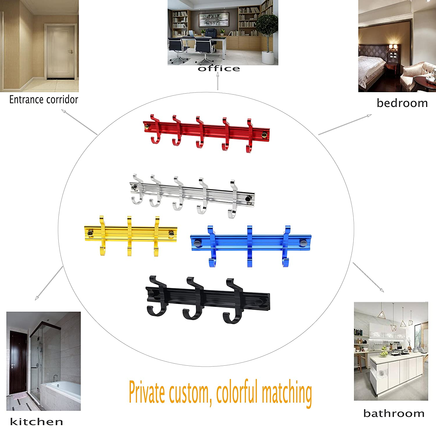 Yellow 13.7 inch SinLoon Wall Mounted Home Hook Rack Self Adhesive Rail Stainless Aluminum Holder Movable 5 Hooks for Coat and Hat Knapsack Bags Scarves Key Umbrella