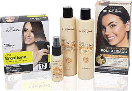 Be Natural Pack de Alisado Profesional Brasileño + Pack Postalisado Lisso Keratina, Blanco