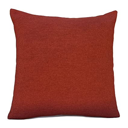 Amazon.com: Dark Orange (rust) Linen Blend Decorative Throw ...