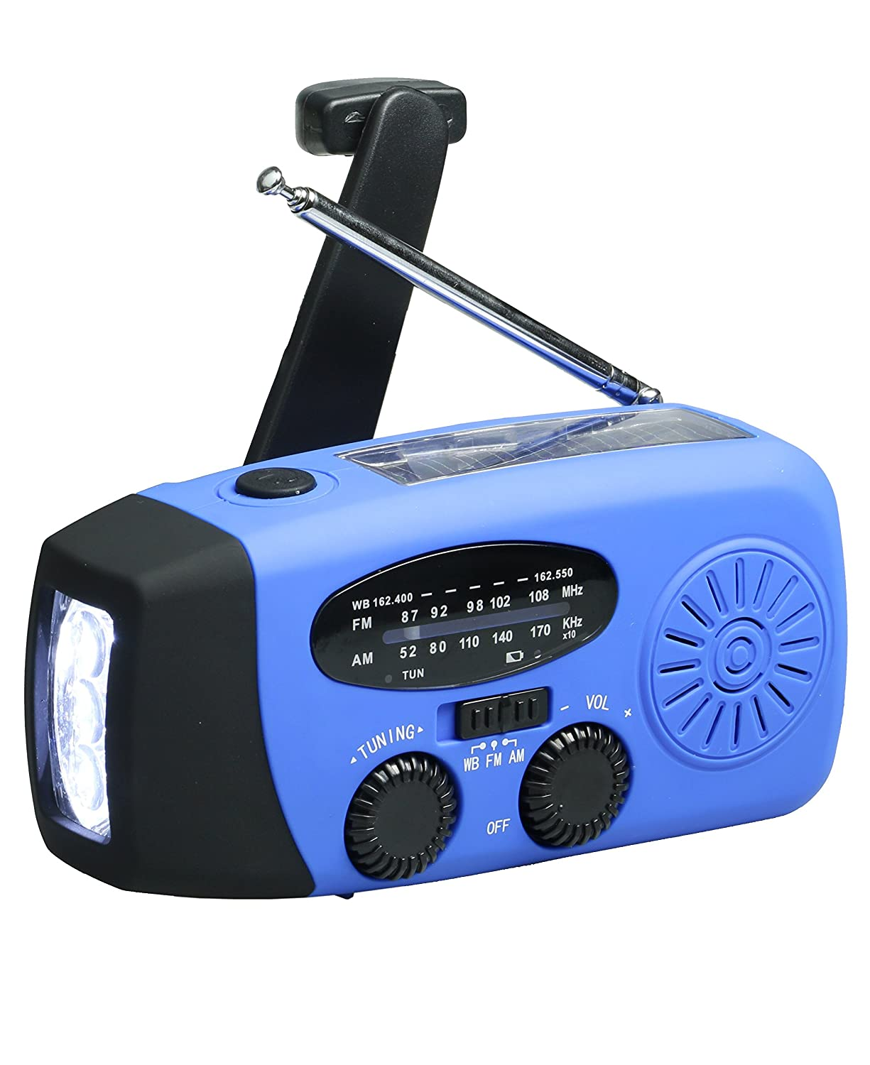 Dynamo Emergency Solar Hand Crank Self Powered AM/FM/NOAA Weather Radio, LED Flashlight, Smart Phone Charger Power Bank with Cables