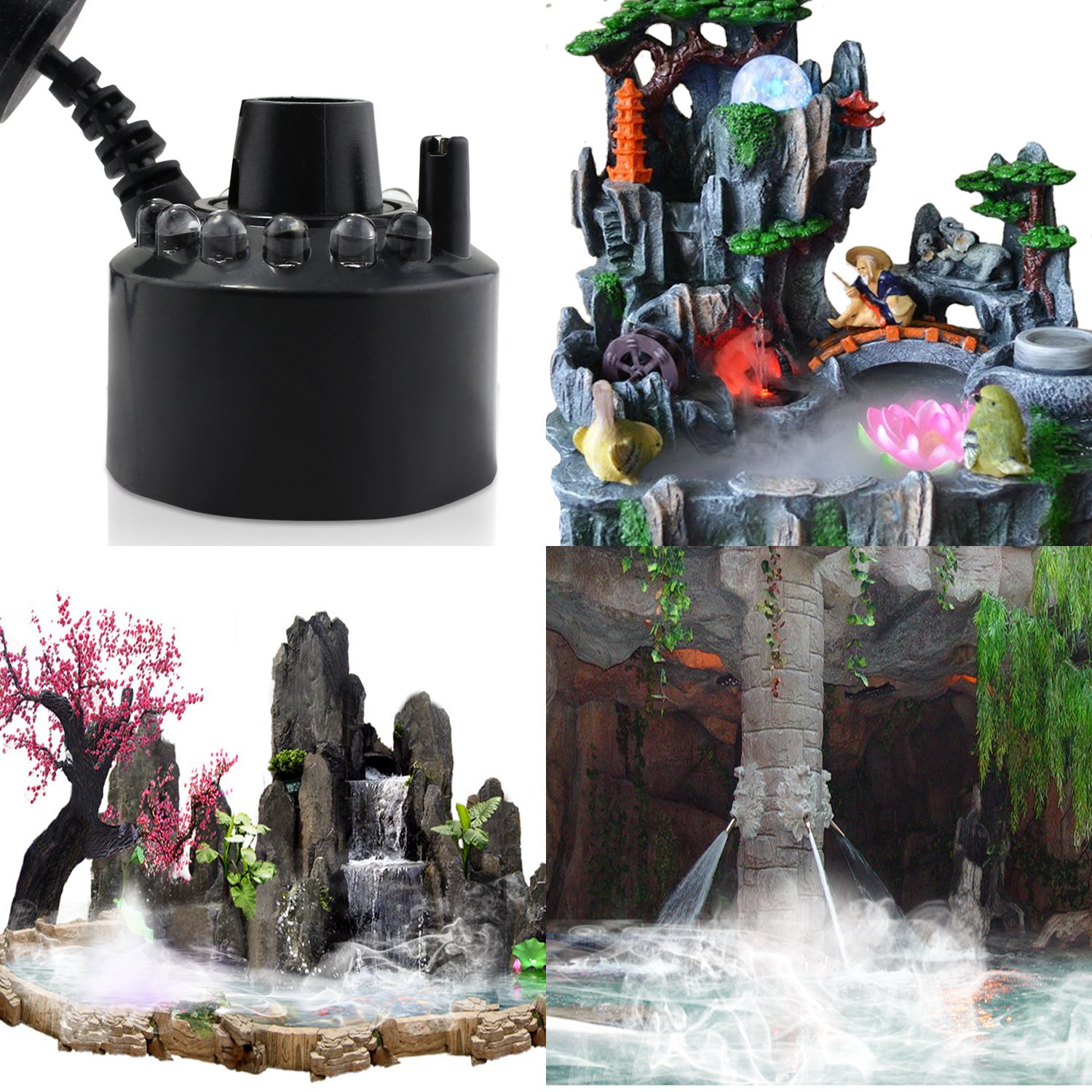 ESUMIC 12LED Mist Maker Fogger Water Fountian Pond Air Humidifier (Black)