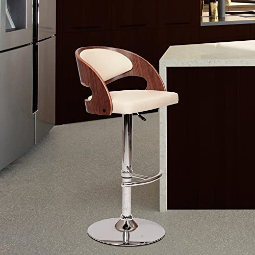 Armen Living Malibu Swivel Barstool in Cream Faux Leather and Chrome Finish