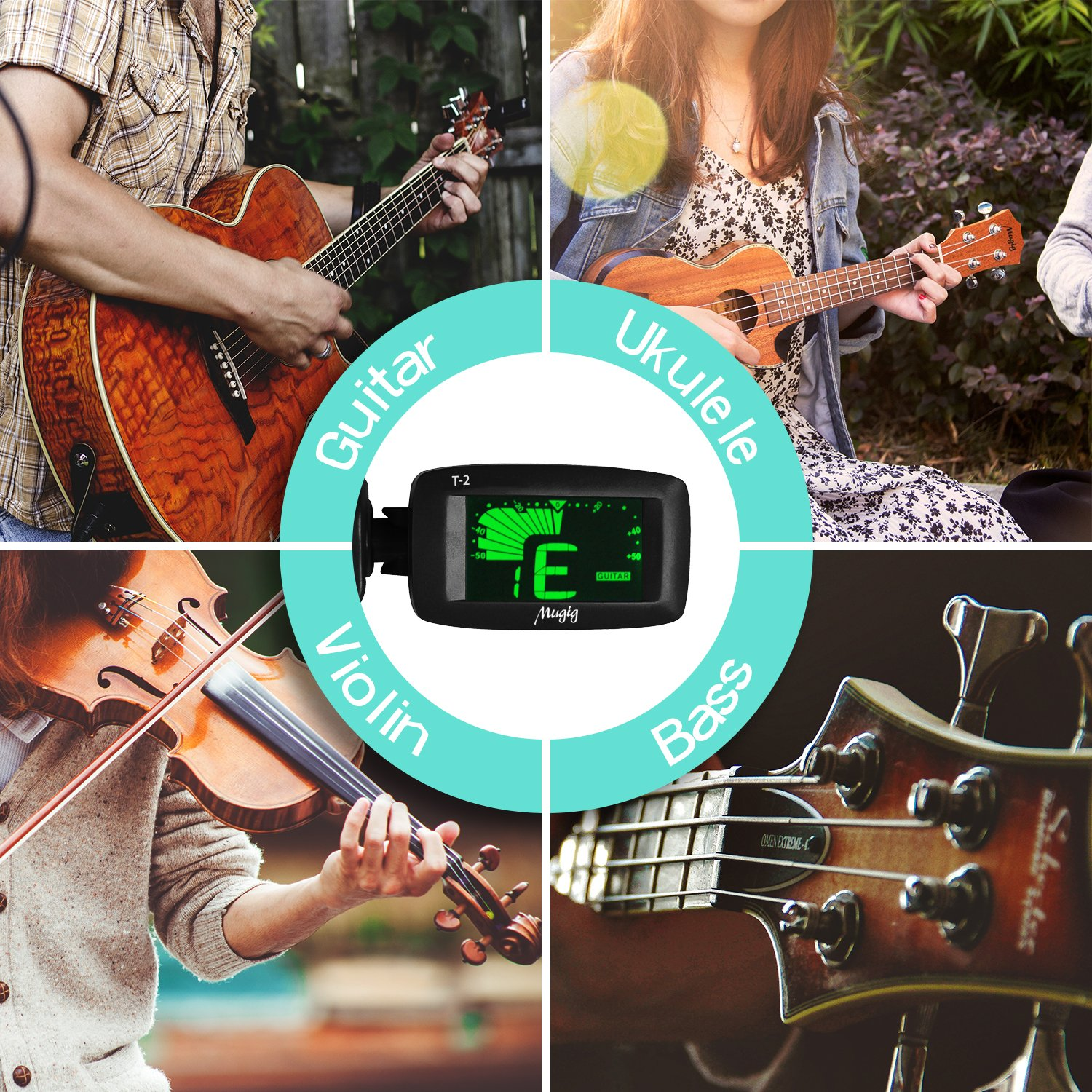 Guitar Tuner, Mugig Clip-on Tuner Chromatic Tuner for Guitar Ukulele Bass Violin Chromatic, Colorful LCD Display