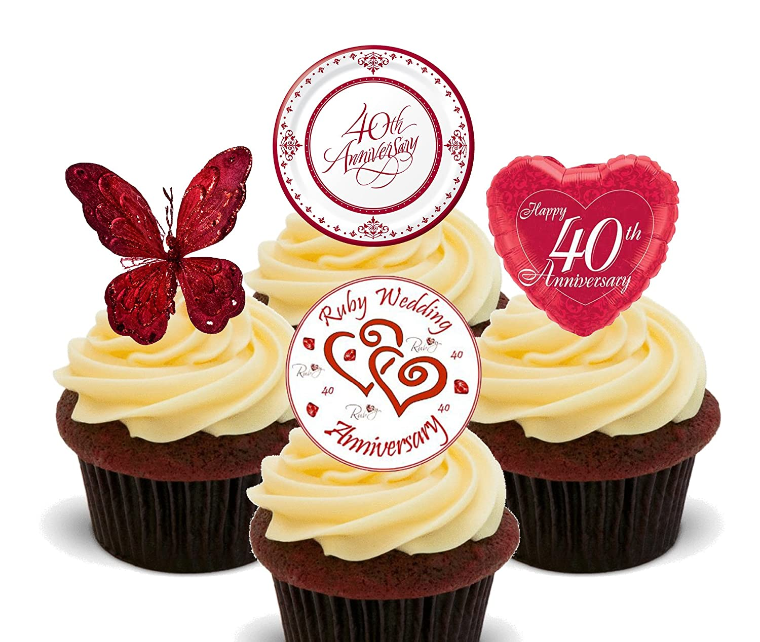 Ruby Wedding 40th Anniversary Edible Cupcake Toppers - Stand-up ...