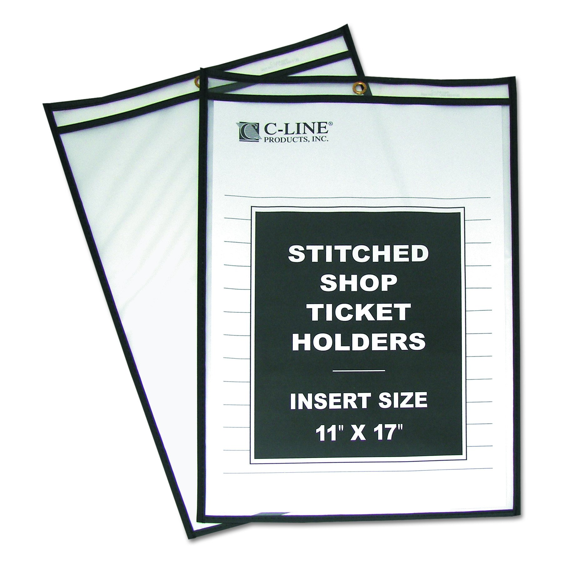 C-Line Stitched Shop Ticket Holders, Both Sides Clear, 11 x 17 Inches, 25 per Box (46117) by C-Line
