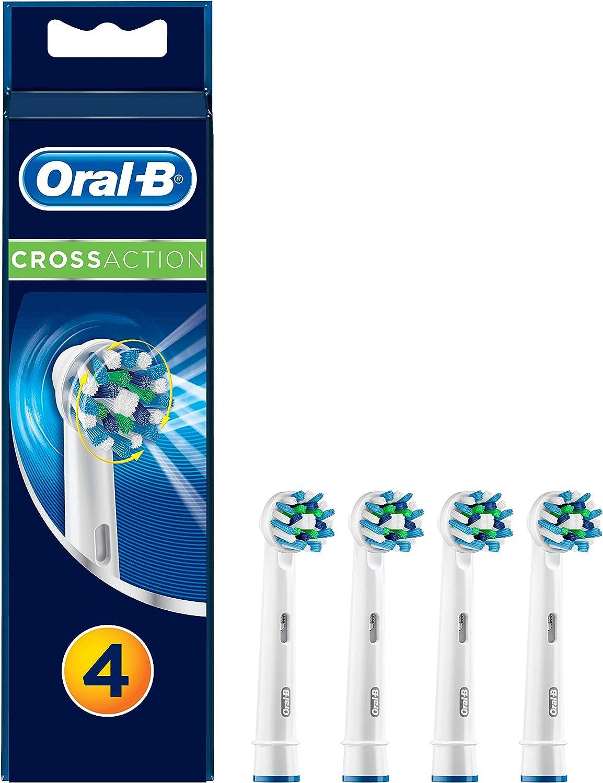 Oral-B CrossAction Pack, Cabezales 4 para cepillo eléctrico, cabezal redondeado para limpiar diente por diente