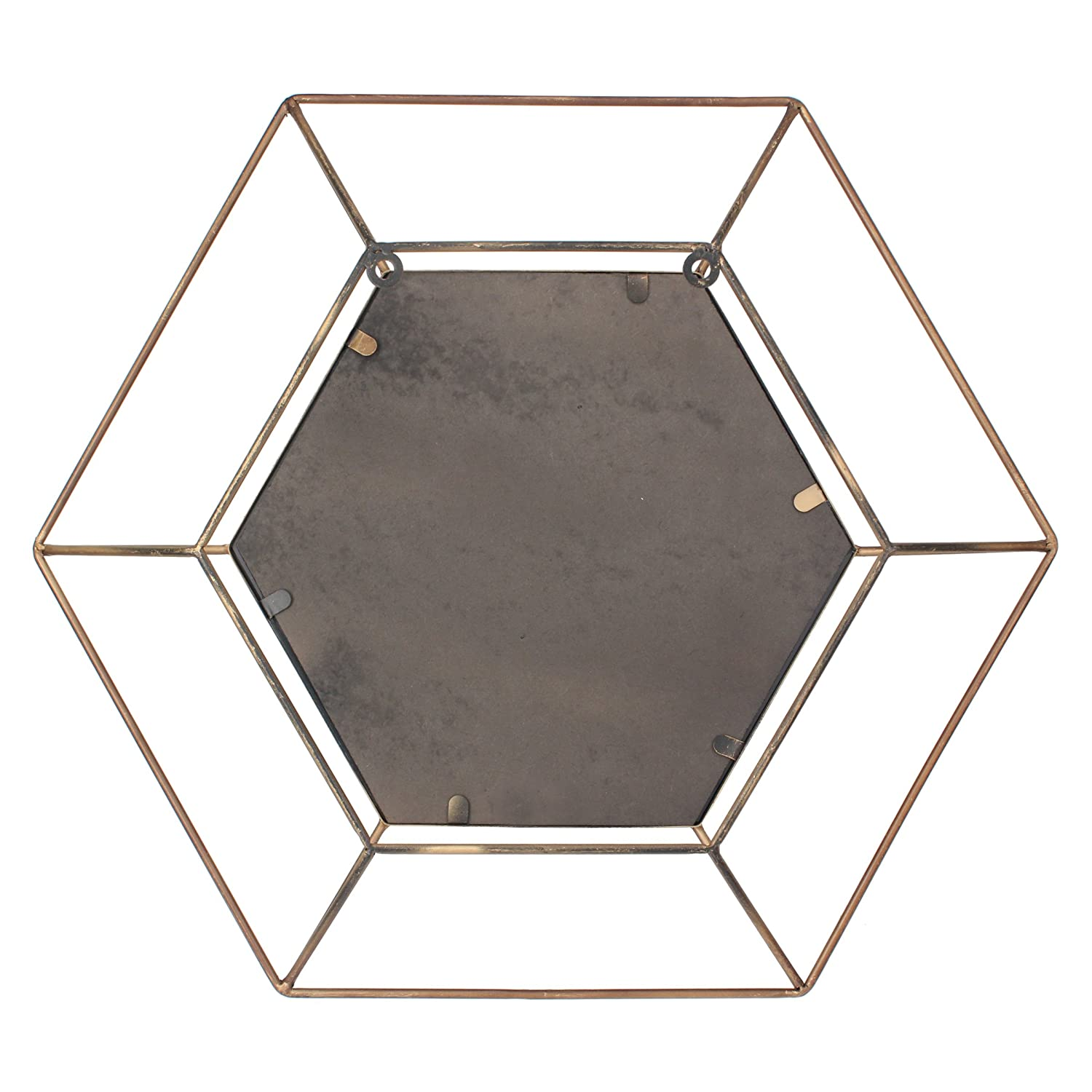 Bathroom Modern Geometric Decor for the Living Room Stonebriar Decorative Antique Gold 24 Hexagon Metal Frame Hanging Wall Mirror with Mounting Brackets Bedroom and Entryway CKK Home Decor SB-6141A